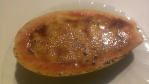Coconut Creme Brulee Papaya - Cheffing Around